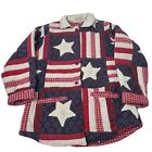Vintage Patch Magic Womens Small Quilted Jacket Blazer Stars & Stipes Patriotic