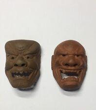 TWO Antique Vintage Japanese Finely Carved Pottery Netsuke Demon Masks