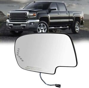Turn Signal Heated Mirror Glass Driver Side LH for 2003-2007 GMC Chevy Cadillac