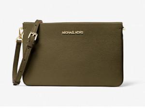 MICHAEL KORS💋Jet Set Large Pebbled Leather Crossbody Handbag, Duffle Green, NWT