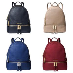 Michael Kors Rhea Zip Medium Leather MK Signature Backpack School Bag