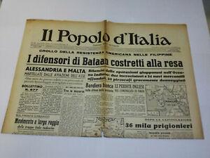 IL POPOLO D' ITALIA 10 APRILE 1942 BENITO MUSSOLINI GIORNALE D' EPOCA WW2