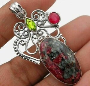 9g Natural Ruby Fall 925 Solid Sterling Silver Filigree Pendant Jewelry, IT5-6