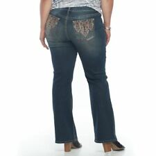 Apt. 9 Jeans womens 24W SHORT Embellished Bootcut stretch denim new med wash A3