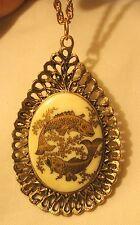 Zodiac Antiqued Goldtone Pendant Necklace Handsome Filigree Teardrop Pisces Fish