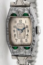 Vintage 1920s Moon Cut 1ct Emerald Diamond 14k White Gold Ladies BULOVA Watch