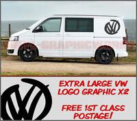 x2 VOLKSWAGEN VW SWOOSH LOGO VDUB SURF VINYL DECAL STICKERS XL T5 T4 T3 VAN
