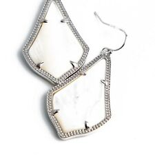 NEW! Kendra Scott Alex Drop Earrings Mother of Pearl Silver & Dust Cover