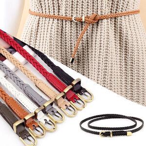 Women Ladies Bronze Buckle Braided Belt Faux Leather Skinny Dress Belts