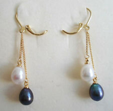 Beautiful Genuine White and Black Pearl Yellow Gold Plated Link Hook Earrings