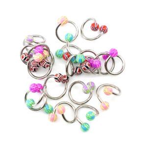 """20 Pack Twister Spiral Ring 14 Gauge 7/16"""" 11mm Navel Lip Nipple Ear - 10 Pairs"""