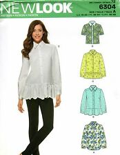 New Look Sewing Pattern 6304 Misses Shirt Length Variations Size 10-22
