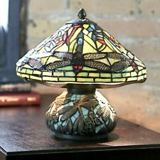Tiffany Style Red Dragonfly Accent Green Stained Glass Table Lamp w/ Mosaic Base