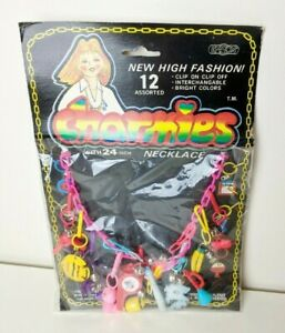 Vintage 1980's Plastic Charmies Necklace with Charms Retro Pink Chain In Package