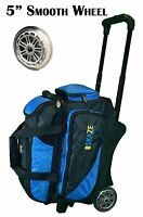 KAZE SPORTS Deluxe 2 Ball Bowling Bag Roller with Smooth Urethane Wheels Two