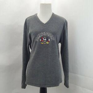 Vintage Mickey Unlimited Women's Grey V-Neck Fleece Sweater M