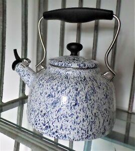 Chantal Landmark Enamel on Steel Whistling Tea Kettle Blue White Splatter 2.4 Qt