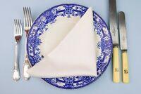 4 Large White Damask Cotton Napkins Dinner Lunch Linens 1890 Antique Victorian