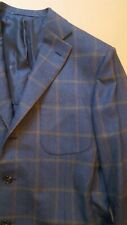 NWT $3500 D'AVENZA ALL HAND MADE  FULL CANVAS 40 FLANNEL WOOL , KITON ATTOLINI