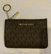 Michael Kors JST Small Top Zip Coin Pouch ID Card Holder Key Ring Brown