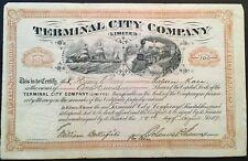 TERMINAL CITY COMPANY, LIMITED Stock 1891 Montreal? Toronto?