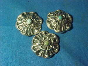 3 Vintage MEXICAN STERLING Silver Hand Crafted BUTTONS w TURQUOISE Centers