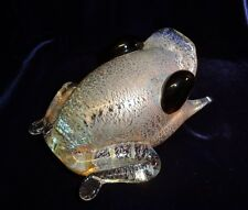 Art Glass Crystal Gold Aventurine Frog Toad Figurine Paperweight Signed 3.3 lbs