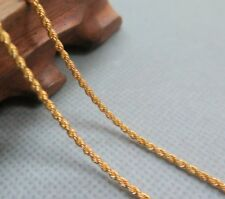 """Solid 24k Yellow Gold Necklace 1.5mm Rope Link Chain Necklace 17.7"""" L"""