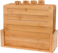 "Mindful Design 4 Piece 11"" x 9"" Bamboo Index Cutting Chopping Board Set w/ Stand"