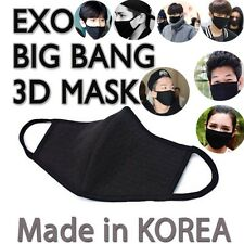 Unisex Kpop Idols 3D Black Cotton Face Mouth Mask BigBang EXO Mask Made in Korea