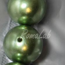 4 MAXI PERLE ROTONDE 2,4 cm verde verdi PERLINE in PLASTICA con foro passante