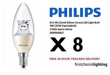 8 x Philips 4W (25W) E14 SES DIMMABLE Candle LED Lamps Bulbs 2700K Warm White