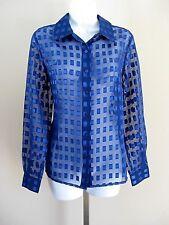 Basic Editions Size S Blue Long Sleeve Semi-sheer Blouse
