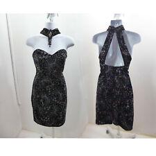 Vintage 80s Gunne Sax Dress Size 7/8 Black Velvet Glitter Cocktail  Strapless