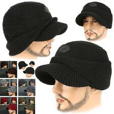 Cadet Box HOC BLACK Visor Beanie Chullo Skull Knit Cap Hat Ear wamer EarFlap