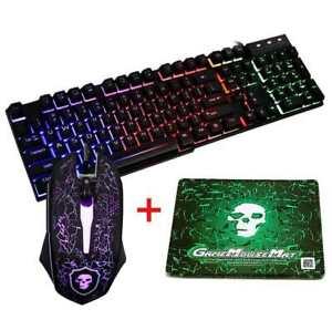 T6Rainbow LED Backlit Ergonomic waterproofGaming Light Keybord Mouse ComputerPC