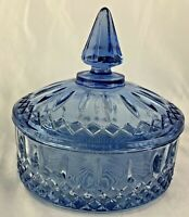 VINTAGE INDIANA ICE BLUE GLASS CANDY DISH W/ LID