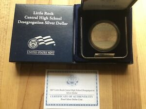 2007 Little Rock Central High School Proof Silver Dollar with Box & C.O.A.