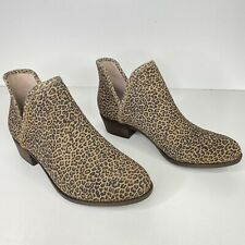 Lucky Brand Baley Leopard Ankle Booties Women Size 11 Leather Closed Toe Slip On
