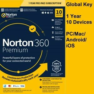 Norton 360 Premium 2021 | 10 Devices 1 Year | PC/Mac | 75GB Backup | Secure VPN