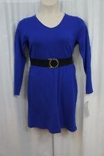 NY Colletion Petite Dress Sz PL True Blue V Neck Long Sleeve Business Casual