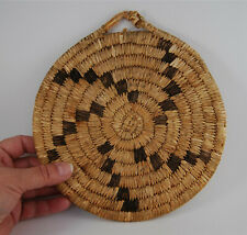 New ListingAntique Native American Basket Plaque Polychrome Papago Whirlwind Db75