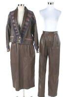 Norma Canada Leather 3 Pcs Jacket, Skirt, & Pant, Retro Vintage Labeled size 10*
