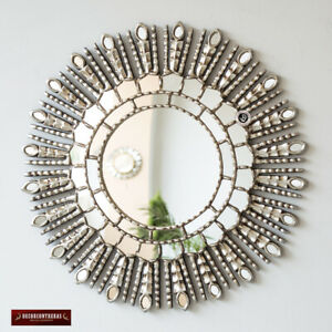New Silver Sunburst Mirror Cuzco style 'Silver Princess Sun'-Handmade Wall Decor