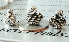 1PC Silver Plated Mother Swan & Baby Ducklings European Bead Charm fit Bracelets