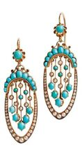 Yellow Gold Plating 925 Sterling Silver Dangle Earrings Turquoise Round Pearl