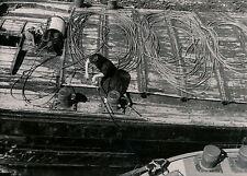 Ecluse de PORT VILLEZ c. 1950 - Péniches Cordages - DIV 3512