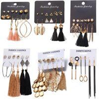 Chic 6Pairs Women Korean Style Earrings Set Tassel Crystal Ear Stud Dangle Hook