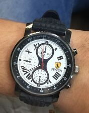 MENS FERRARI CHRONOGRAPH WRIST WATCH STAINLESS STEEL RUBBER BAND 200 METERS