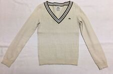 Lacoste Ivory Mini Cable Knit Sweater With Olive Green & Lavender Trim Sz 36 (S)